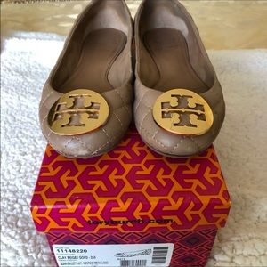 Tory Burch leather coffee flats with gold emblem